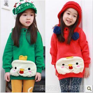新品秋冬韩版童装上衣大女童羊羔绒连帽套头卫衣宝宝外套批发