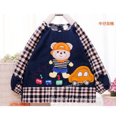 新款韩版阿喜和悦084宝宝罩衣防水有袖围裙软牛仔倒褂围兜