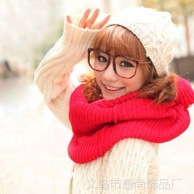 韩版冬季时尚针织女士毛线围脖围巾 男女情侣毛线围巾大围脖