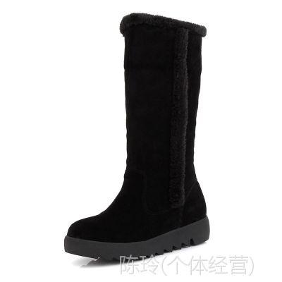 供应冬季新款圆头平底真皮雪地靴中筒靴牛皮磨沙大码40-43女靴子