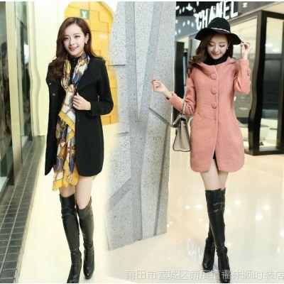 2014秋冬装新款女装韩版修身单排扣中长款呢子大衣毛呢外套女