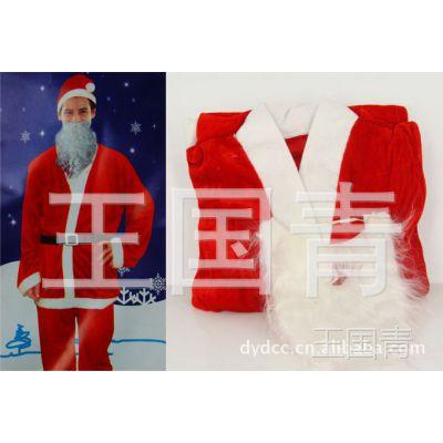 高档圣诞服 短毛绒大红金丝绒圣诞男服套装