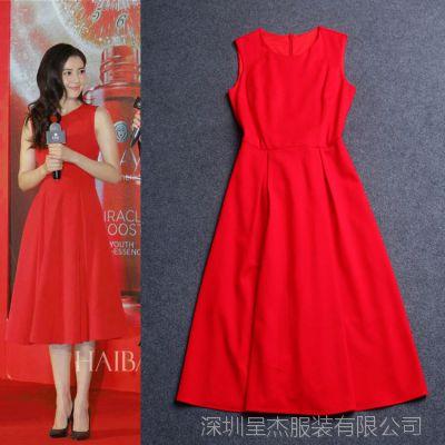 欧美女装批发 2015春夏新款 高圆圆同款 红色修身中长连衣裙14085