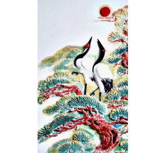 供应彩色浮雕环保功能性硅藻泥壁材——松龄鹤寿