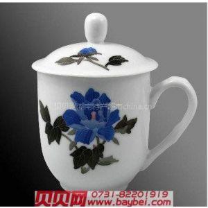 供应醴陵瓷器老板杯蓝芙蓉