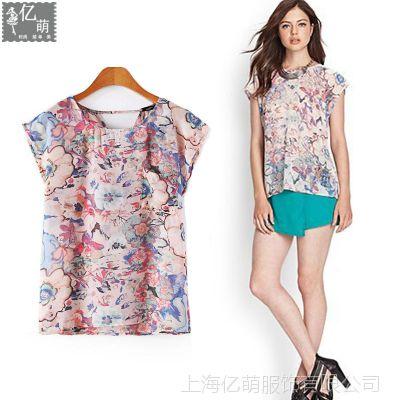 2014夏季女装新款 粉色模糊印花女式短袖雪纺衫上衣4045