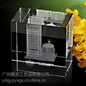 腾洪工艺大楼模型水晶内雕工艺品定做