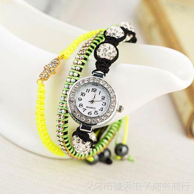 欧美时尚手表女款 外贸个性手链镶钻表 女士彩色亮钻珠子休闲手表