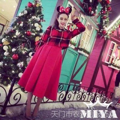 2015秋冬新款圣诞系列 经典格子呢上衣+半身长裙 套装