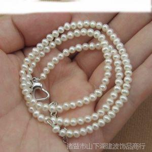 供应天然淡水珍珠项链 3-4MM超细迷你小珍珠 圆形强光韩版