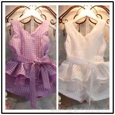 2014夏装新款韩版女童套装碎方格飞边下摆小香风超有型气质感套装