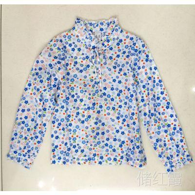 外贸女童长袖花衬衫立领木耳边装饰系带款梭织全棉布春夏薄透气
