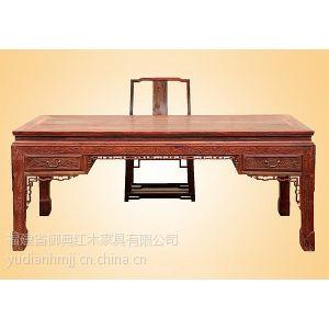 供应老挝大红酸枝办公桌两件套 红木简约电脑桌 红酸枝书桌