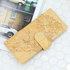供应广州狮岭钱包厂供应时尚地图纹中性长款钱包