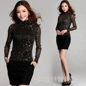 供应6900 春装新款女装 网纱烫金修身高领打底衫 女式 长袖T恤