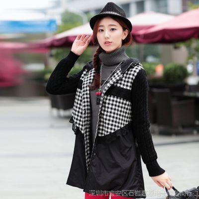 欧洲站风衣单排扣外套中长款衣服女装棉格子上衣蕾丝连帽韩版红色
