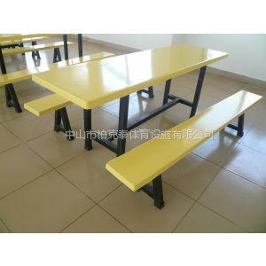 供应中山柏克批发玻璃钢餐桌椅,长条凳餐桌椅,神湾食堂餐桌椅安装