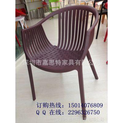 深圳同乐家具厂家批发一体成型pp塑胶椅 扶手仿藤休闲餐椅