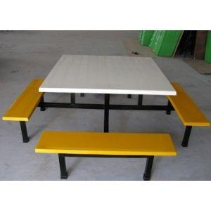 批发玻璃钢连体餐桌椅组合餐厅食堂专用餐桌椅 8人位快餐厅桌餐椅