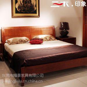 供应三木印象东南亚风格槟榔色卧室组合床实木床双人床1.8米榻榻米床