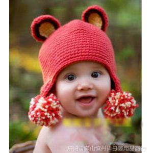 供应新款 双球双耳朵卡通款毛线帽 影楼拍照用品 手工编织宝宝毛线帽