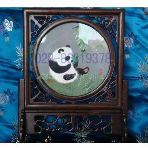 供应蜀绣鸡翅木熊猫--成都礼品,成都蜀绣