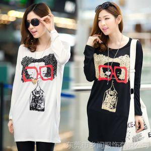 供应2014韩版莫代尔大码宽松蝙蝠袖中长款圆领长袖印花T恤打底衫上衣