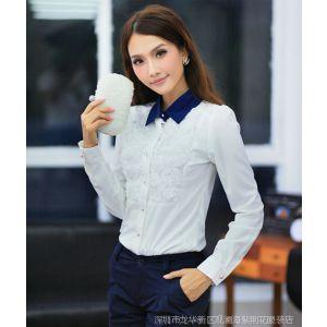 供应2013 韩版长袖女衬衫修身ol通勤打底衫淑女职业蕾丝雪纺衫衬衣