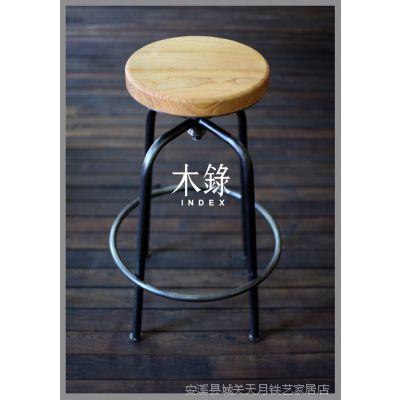 铁艺吧椅 吧椅 转椅 铁艺椅子 木坐垫吧椅 酒吧吧椅 美式咖啡椅子