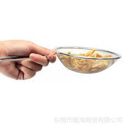 供应创意厨房日用品超实用多功能不锈钢漏勺/滤油勺过滤勺网勺
