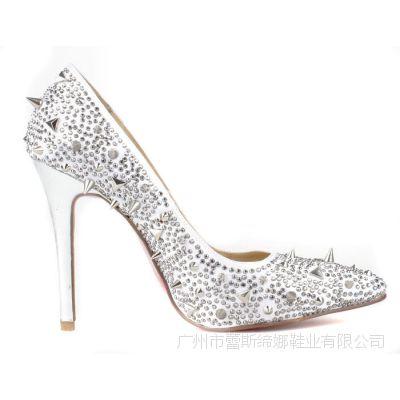 2014年新款批发欧美白色烫钻银色柳钉尖头民族风时尚性感单鞋婚鞋