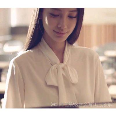 新款Angelbaby 同款大蝴蝶结白色衬衫女秋冬新款学院风打底衬衣
