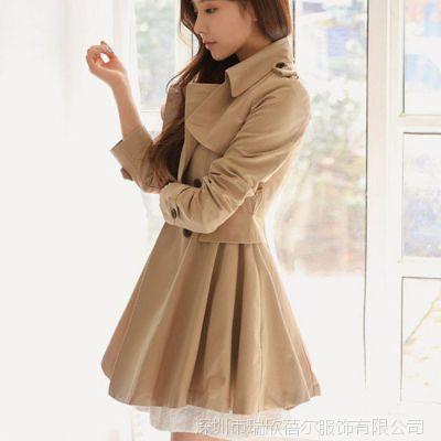 2014秋冬新款韩版中长款修身气质女式风衣