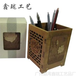 供应创意木质笔筒 方形多功能笔筒 竹雕荷花笔筒大量批发