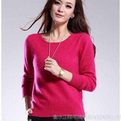女士长袖貂绒衫 纯色高端低领貂绒   高端女装 毛衣 羊绒 貂绒