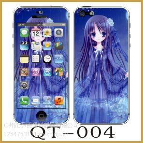 供应苹果iphone4s 5s手机卡通贴膜 浮雕夜光彩膜全店混批热销