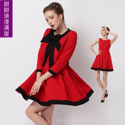 2014春秋装 新款女装欧美高端红色小外套+收摆大摆背心裙两件套AB