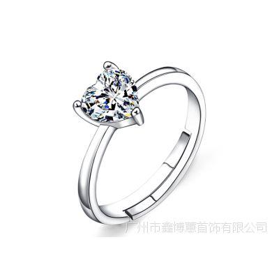 925银心形戒指 时尚银饰批发 纯银女戒