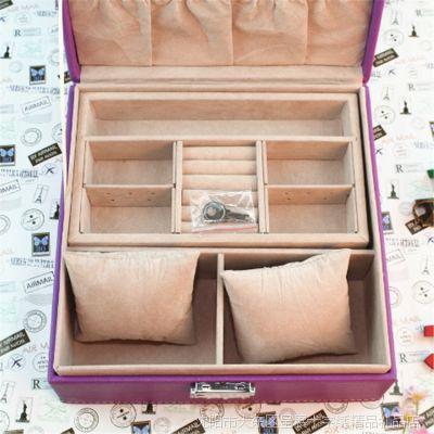 批发优质韩版皮质双层首饰盒  高档时尚首饰收纳盒  批发创意礼品
