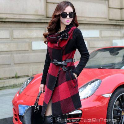 爆款秋冬毛呢外套女 奢华气质新款方格修身呢子风衣女装外套批发