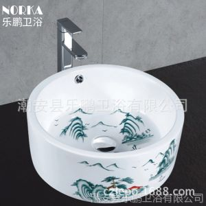 潮州陶瓷洗手盆卫生间 仿古台上盆 中式复古洗面盆
