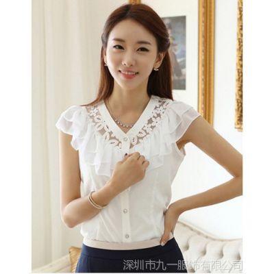 女装2014夏装新款韩版V领打底衫花边雪纺衫打底衫女式上衣潮G001