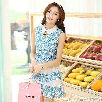 供应2014新款女装 韩版蕾丝时尚宽条纹娃娃领子无袖背心连衣裙