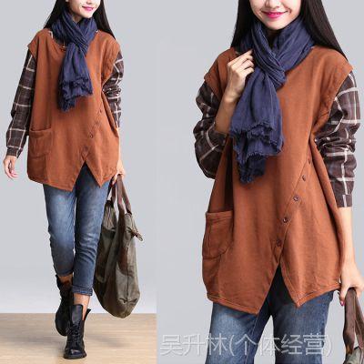 YSBS秋装新款假两件拼接格子衫韩版大码文艺宽松衬衫不对称卫衣