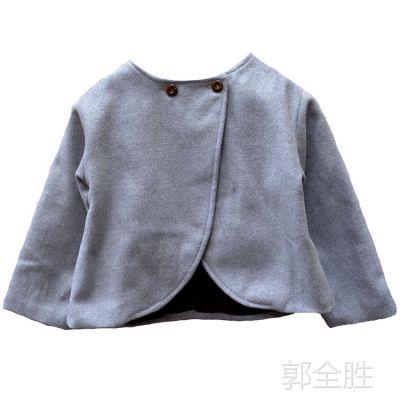 韩版儿童外套毛呢休闲时尚上衣新款春秋款女童风衣保暖舒适批发
