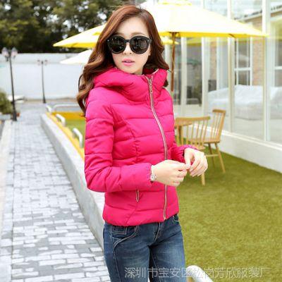 2014冬季女装棉衣 新款韩版修身时尚短装轻棉衣女 外套棉服