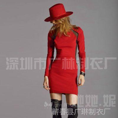 2014新款 厂家批发 秋款红色针织拼接黑色长袖修身连衣裙一件代发