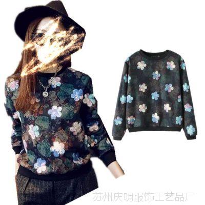 TB032 新款复古甜美印花韩版女装毛呢长袖T恤上衣女式卫衣绒衫