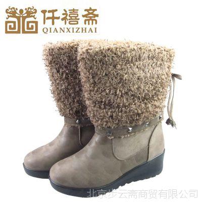 2014秋冬新款女靴 真皮鹿皮绒女士中筒靴 加绒低跟中年女鞋批发