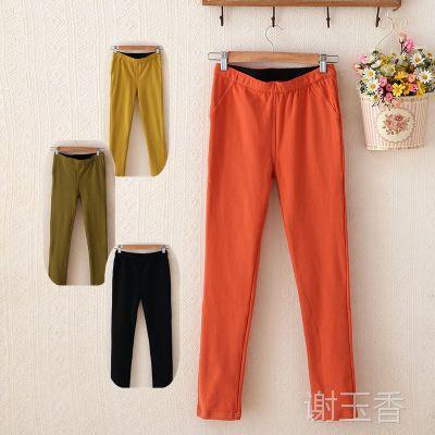 新款韩版冬季长裤女式 热销加绒弹力显瘦女式打底裤子女裤秋冬款